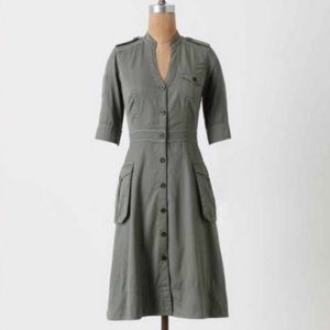 Anthropologie | Maeve Mary Shirtdress Army Green